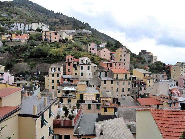 Levante Wall Art - Photograph - Digital Painting Of The Riomaggiore Rooftops by LeeAnn White