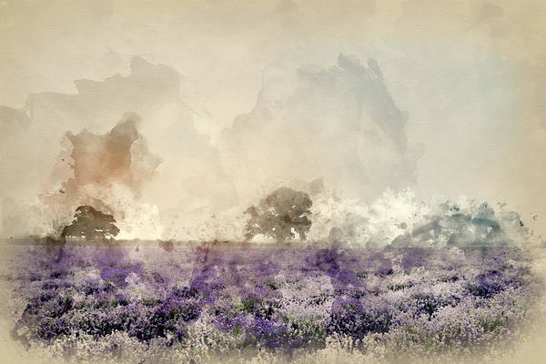 Lavender Mist Wall Art - Photograph - Digital Watercolor Painting Of Beautiful Dramatic Misty Sunrise  by Matthew Gibson