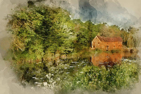 Sturminster Newton Photograph - Digital Watercolor Painting Of Early Morning Landscape Across River To Old Mill  by Matthew Gibson