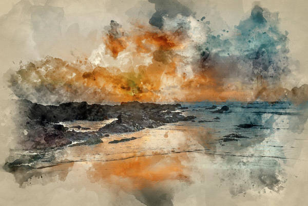 West Wales Photograph - Digital Watercolor Painting Of Stunning Sunset Landscape Image O by Matthew Gibson