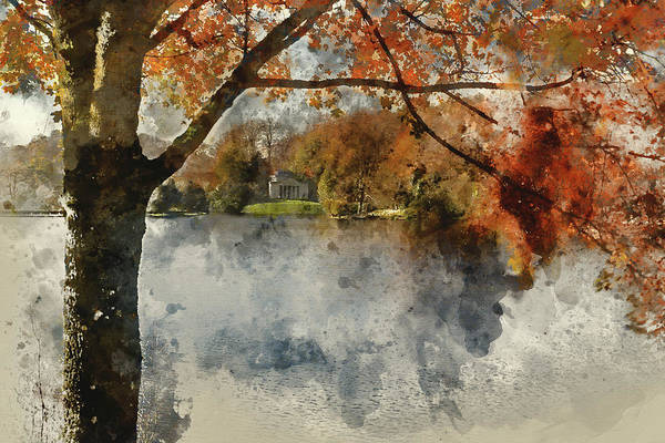 Stourhead Photograph - Digital Watercolor Painting Of Trees And Lake In Autumn Colors by Matthew Gibson