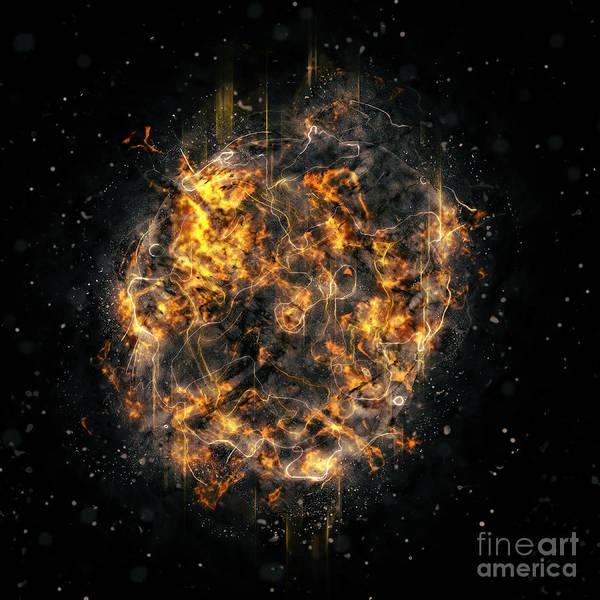 Detonation Digital Art - Digitally Created Exploding Supernova Star  by Ilan Rosen