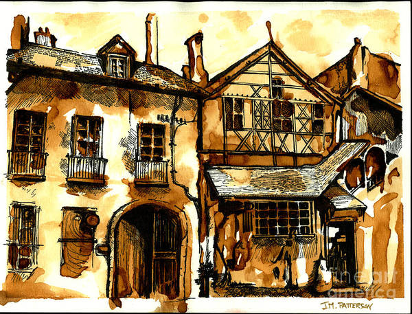 Half Timbered Painting - Dijon Half-timbered - Coffee Watercolor by Jonathan Patterson