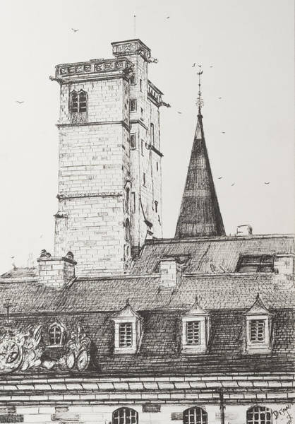 Quaint Drawing - Dijon Rooftops by Vincent Alexander Booth