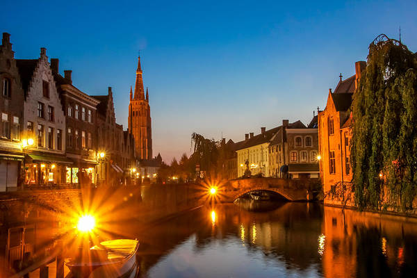 Photograph - Dijver Canal At Night by Tom and Pat Cory