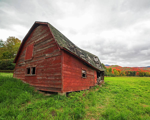 Photograph - Dilapidated Barn Keene New York Ny Route 73 by Toby McGuire
