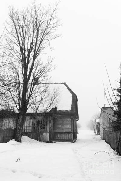 Wall Art - Photograph - Dilapidated Wooden Shack In Winter by Arletta Cwalina