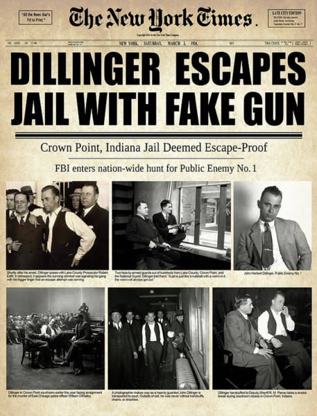 Wall Art - Mixed Media - Dillinger Escapes With Fake Gun 1934 by Daniel Hagerman