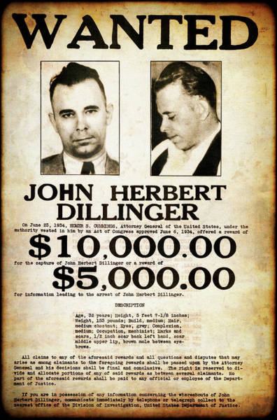 Wall Art - Photograph - Dillinger Public Enemy No. 1 Wanted Poster  1934 by Daniel Hagerman