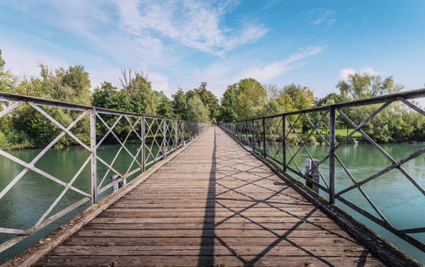 Photograph - Diminishing Perspective Pedestrian Bridge Crossing River Adda In Italy by Alexandre Rotenberg