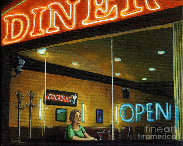 Wall Art - Painting - Diner - Night Oil Painting by Linda Apple