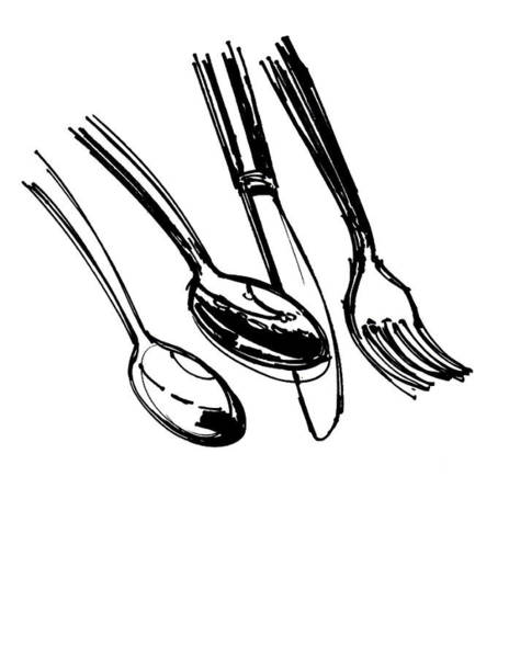 Restaurant Decor Drawing - Diner Drawing Spoons, Knife, And Fork by Chad Glass