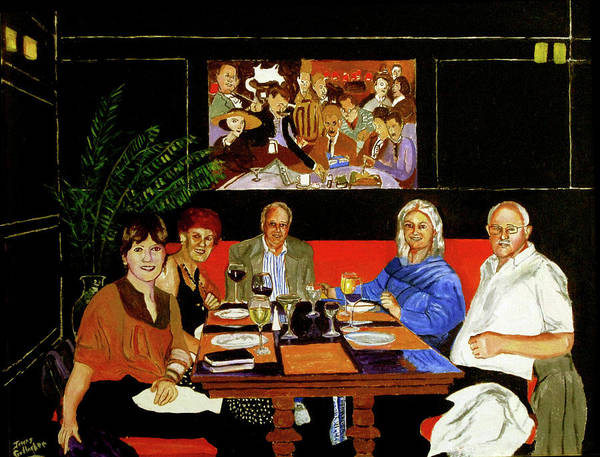 Wall Art - Painting - Dinner At Th Algonquin Hotel by James Gallagher
