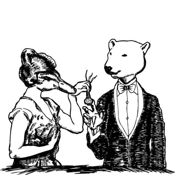 Polar Bear Drawing - Dinner by Karl Addison