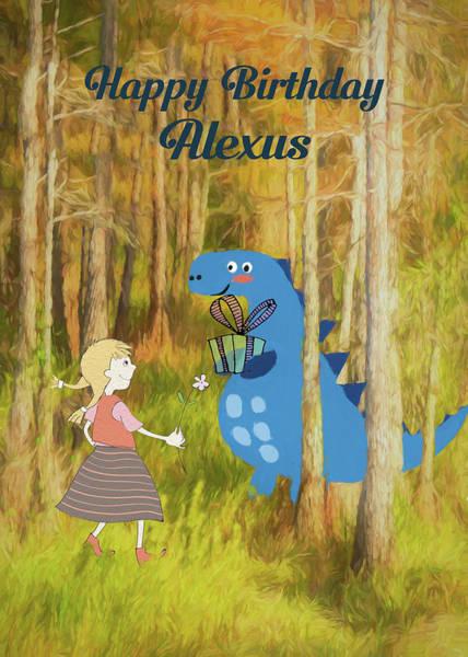 Mixed Media - Dino Woods Birthday For Alexus by Rosalie Scanlon