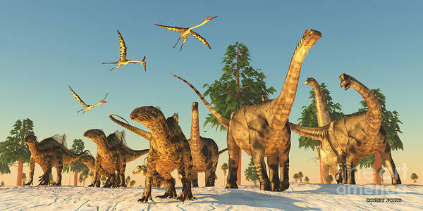 Primeval Painting - Dinosaur Drought Migration by Corey Ford