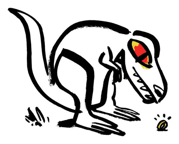 White Background Drawing - Dinosaur Looking At Shining Ring  by Nishant Choksi