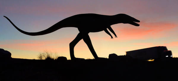 Semi Truck Photograph - Dinosaur Loose On Route 66 by Mike McGlothlen