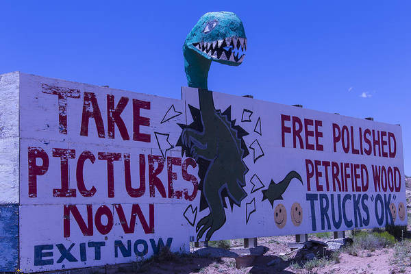 Crumbling Photograph - Dinosaur Sign Take Pictures Now by Garry Gay