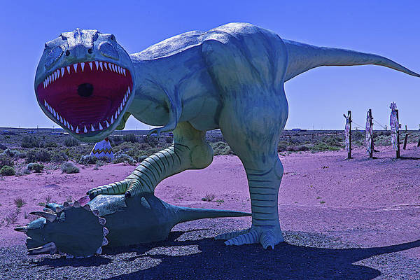 Crumbling Photograph - Dinosaur With Kill by Garry Gay