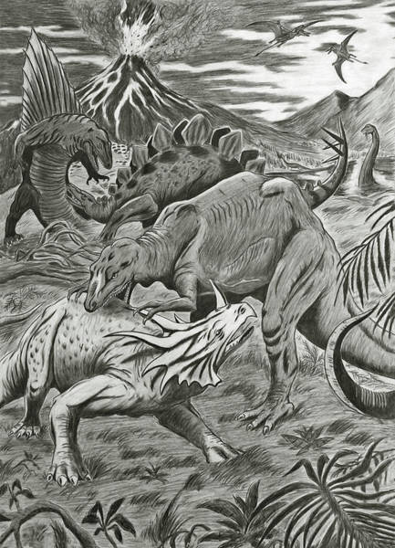 Carnivorous Drawing - Dinosaurs Battle by Nicola Fusco