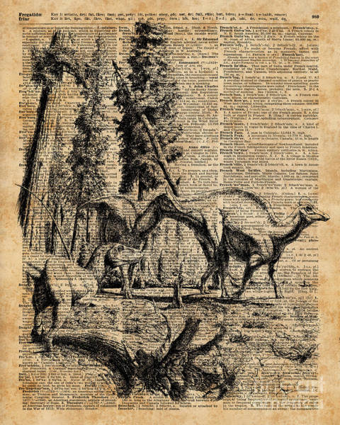 Wall Art - Digital Art - Dinosaurs In Forest Vintage Dictionary Art Illustration by Anna W