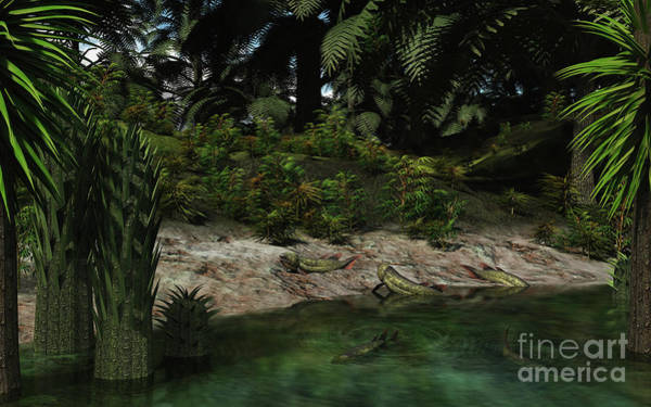 Paleobotany Digital Art - Dipterus Fish Emerge From A Devonian by Walter Myers