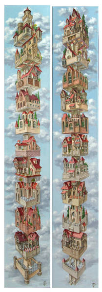 Painting - Diptych Air Castles by Victor Molev