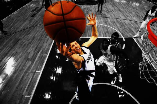 Mavericks Mixed Media - Dirk Nowitzki Finger Roll by Brian Reaves