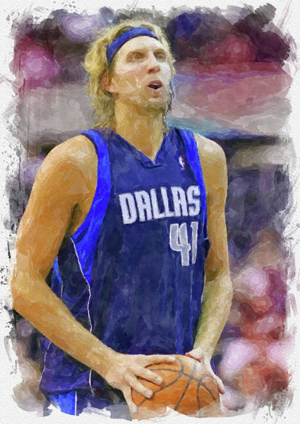 Wall Art - Digital Art - Dirk Nowitzki Paint by Ricky Barnard