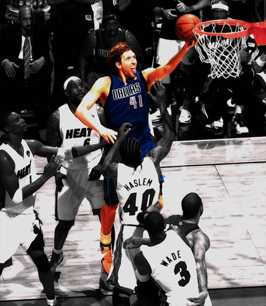 Mavericks Mixed Media - Dirk Nowitzki Soft Touch by Brian Reaves