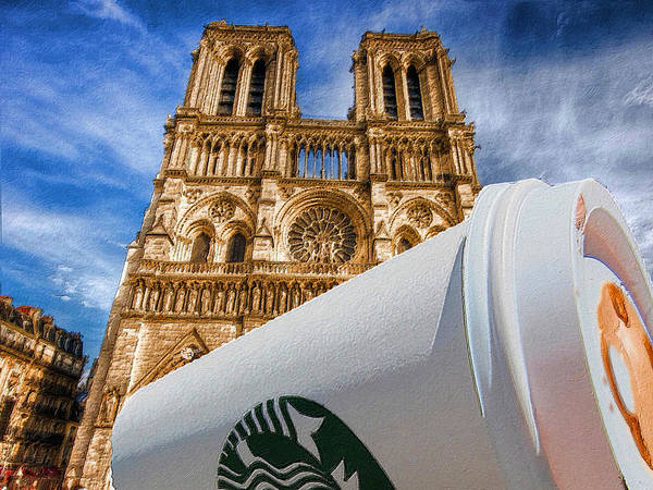Painting - Discarded Coffee Cup Trash Oh Yeah - And Notre Dame by Tony Rubino