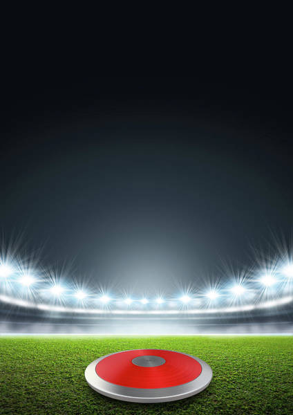 Pitch Digital Art - Discus In Generic Floodlit Stadium by Allan Swart