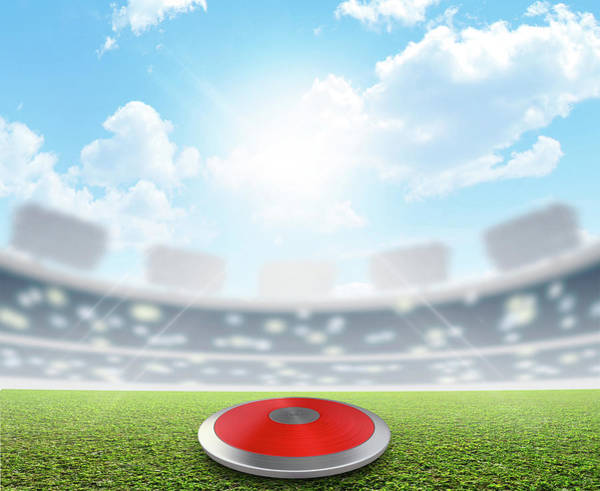 Pitch Digital Art - Discus Stadium And Green Turf by Allan Swart