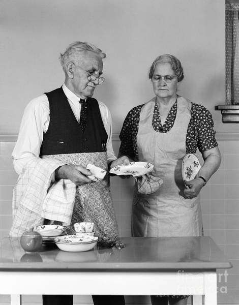 Elder Care Photograph - Dish Broken While Drying, C.1940-50s by H. Armstrong Roberts/ClassicStock