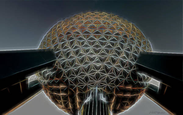 Digital Art - Disney Epcot Glowing At Night by Ericamaxine Price