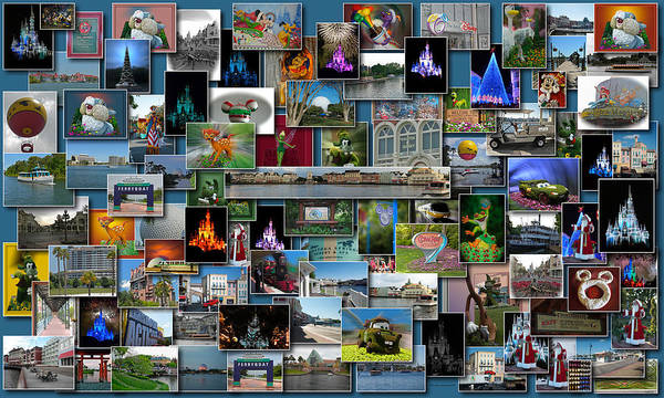 Wall Art - Photograph - Disney World Collage Rectangle by Thomas Woolworth