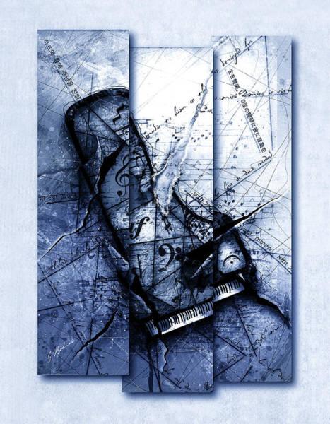 Grand Piano Digital Art - Dissonance In Blue by Gary Bodnar