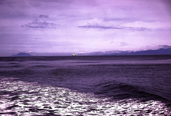 Swan Boats Photograph - Distant Ferry Near Vancouver Island by Jeff Swan