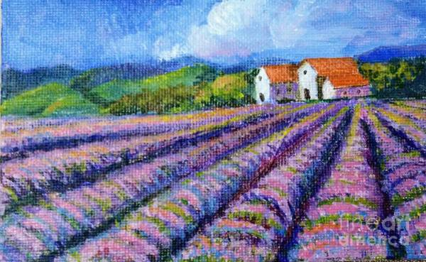 Painting - Distant  Houses And Lavender Fields by Asha Sudhaker Shenoy