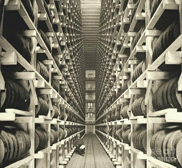 Distillery Photograph - Distillery Barrel Racks 1905 by Padre Art