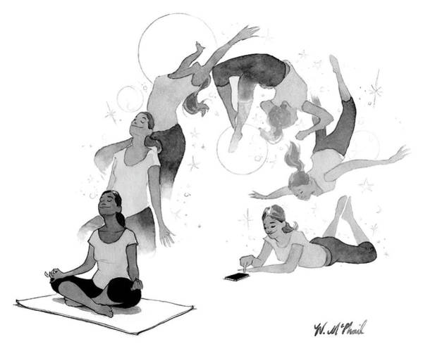 Yoga Drawing - Distraction by Will McPhail