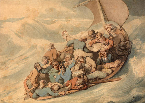 Stormy Drawing - Distress by Thomas Rowlandson