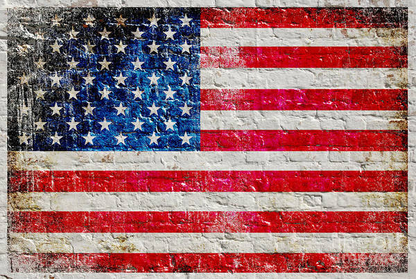 Digital Art - Distressed American Flag On Old Brick Wall - Horizontal by M L C