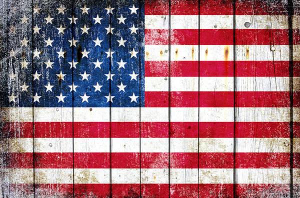 Distressed American Flag On Wood Planks - Horizontal Art Print
