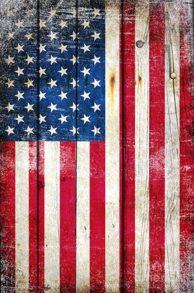 Distressed American Flag On Wood - Vertical Art Print
