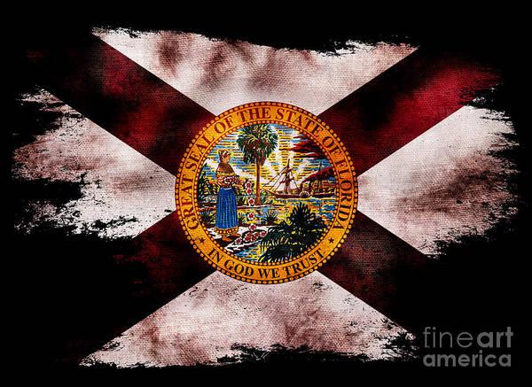 Old Glory Photograph - Distressed Florida Flag On Black by Jon Neidert