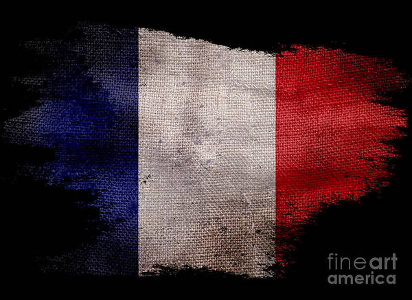 Wall Art - Photograph - Distressed French Flag On Black by Jon Neidert