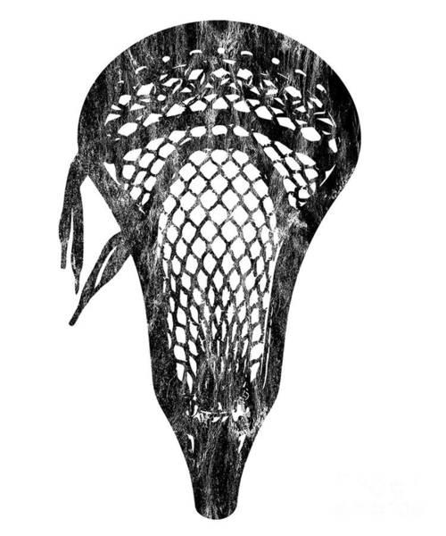 Lax Digital Art - Distressed Lacrosse Head Lacrosse Player Pocket Black by Henry B