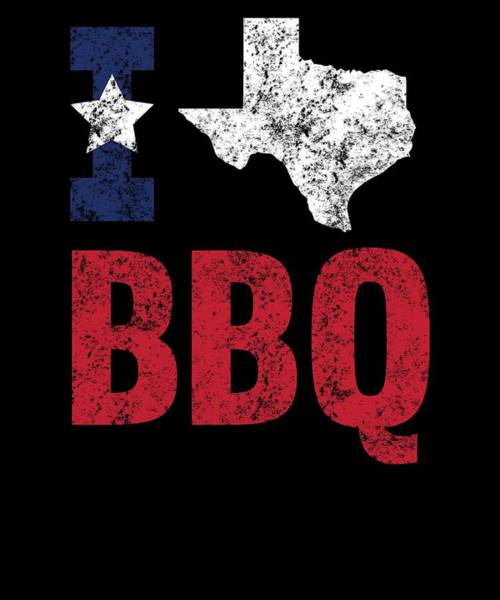 Barbeque Digital Art - Distressed Love Bbq Texas Barbecue Gift by Michael S